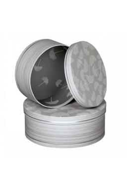 Boîte ronde décor bois feuilles de Ginkgo